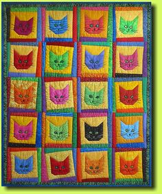 Grinsekatzen (2004) Grinning Cats by Regina Grewe, Denmark - quilt with embroidered faces