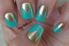 Amber did it!: Tape Mani: Aquadelic and Gold Beauty Nails, Hair Beauty, Just Like Candy, Beauty Secrets, Beauty Products, Nail Time, Mani Pedi, Beauty Trends, Fun Nails