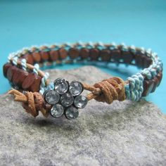 BEADED LEATHER WRAPPED STACKABLE BRACELET