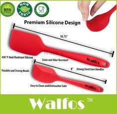 WALFOS mantequilla de calidad alimentaria Antiadherente de cocina de silicona espátula set de cocina para hornear la torta de galletas de pastelería espátula espátula de silicona