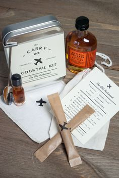 The Carry On Cocktail Kit provides everything you need to craft two delicious Old Fashioned cocktails mid-flight—all you need to add is the hard stuff. Kit does not include travel bottle of Bourbon. K