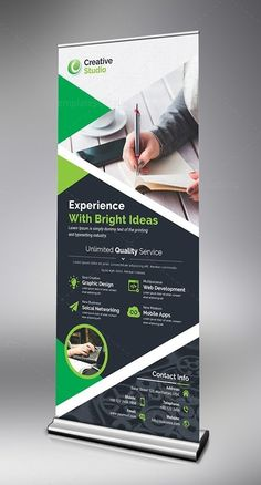 Store Roll Up Banner Template. This elegant and well organized corporate roll up banner template is in PSD format. The Roll up banner template Pull Up Banner Design, Standing Banner Design, Pop Up Banner, Rollup Design, Standee Design, Banner Design Inspiration, Leaflet Design, Banner Template, Brochure Design