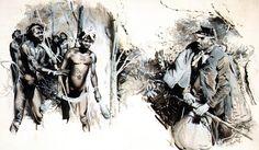 """Illustration by Zdenek Burian, 1942  """"Zdenek Burian,"""" 2005"""