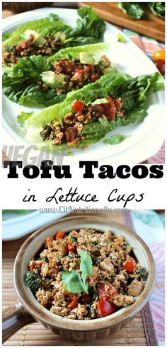 You won't miss the meat with my Tofu Tacos in Lettuce Cups. Plus, they're #vegan, #glutenfree, grain-free, nut free & peanut free!   C it Nutritionally