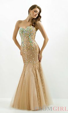 Long Strapless Sequin Mermaid Gown at PromGirl.com