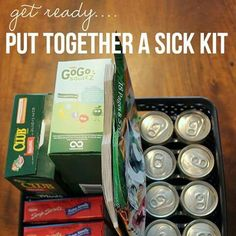 Put together a sick kit,soup ginger ale/ gatorade/crackers tylenol/motrin cough syrup/cough drops/cold tablets jell-0 applesauce charcoal tablets activity books or know someone who is ill? Nice get well gift.