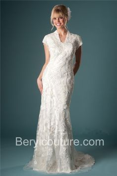 Slim Fitted Mermaid High Back Sleeved Lace Modest Wedding Dress Button  Sweep Train Wedding Dress Buttons 965f0517fd88
