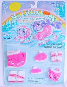 Hasbro MY LITTLE PONY SNOW ANGELS MOTHER & BABY WEAR MLP Pony Outfit MOC`85 RARE #HasbroUSA
