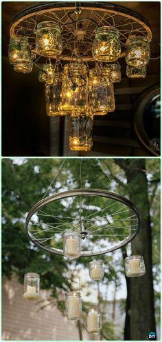 DIY Bike Wheel Mason Jar Chandelier - DIY Ways to Recycle Bike Rims