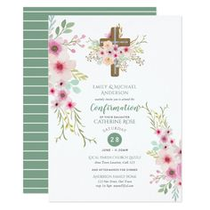 Watercolor Floral Cross CONFIRMATION Pink Sage Card Custom Office Party Invitations #office #partyplanning