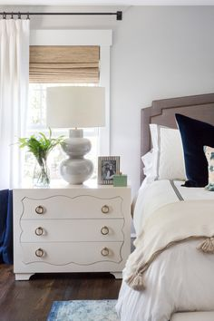 Haddonfield Project taupe upholstered headboard roman shades with curtains white and black bedding black curtain rod studio mcgee style Bedroom Retreat, Home Bedroom, Bedroom Wall, Bedroom Furniture, Bedroom Decor, Dream Bedroom, Bedroom Ideas, Modern Bedroom, Luxury Furniture