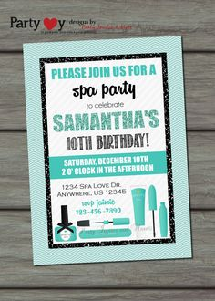 Spa Birthday Invitation Spa Party by PartyInvitesAndMore on Etsy, $10.00