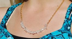 Clear Crystal Necklace Gold Clear Quartz by ornatetreasures, $24.00