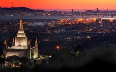 Oakland California LDS temple. A landmark and a light house for the ships .