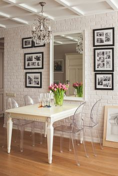 Dining Room Decor Ideas   Painted White Brick, Crystal Chandelier, White  Painted Table, Clear Lucite Chairs And A Mirror To Expand The Small Dining  Space Part 80