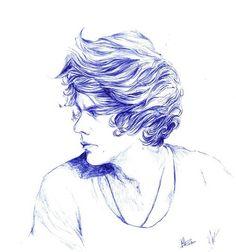 Drawing of Harry Styles, Hazza, Harold, Haz, Harreh, One Direction, 1D .xx