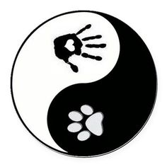 Dog Paw Print & Handprint Yin Yang Round Car M on CafePress.com