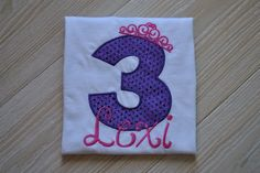 Perfect for the little Princess on her Birthday! This shirt is personalized with childs age and name with a crown/tiara on top of the number.