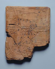 This ancient clay tablet is dated to the 14th-13th century BCE, and on it is inscribed a map of the countryside around the Mesopotamian city of Nippur, located in the middle of the southern Mesopotamia floodplain, near the modern city of Diwaniyah. The inscription on the tablet is in cuneiform.