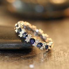 18k White Gold Sapphire Eternity Ring Diamond Eternity Band Garland Sapphire Wedding Ring 2.00 cttw Sapphire Band (Ready to Ship Size 4.5)