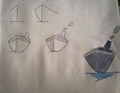 Πώς να μάθω στο παιδί μου να ζωγραφίζει Boat Drawing, Drawing For Kids, Art For Kids, Crafts For Kids, Imagination Drawing, Drawing Techniques, Letters And Numbers, Learn To Draw, Craft Activities
