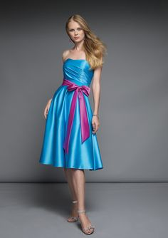 Bridesmaid dresses...imagine magenta dress with black ribbon :-)