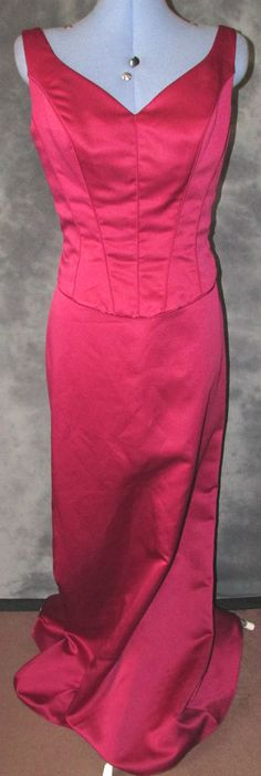 Romantica,ladies,size 14,Burgundy,no pattern,v neck,sleeveless,long Ball Gown.