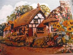 VINTAGE HAND EMBROIDERY TAPESTRY NEEDLEPOINT PICTURE THATCHED COTTAGE in Antiques, Fabric/ Textiles, Tapestries   eBay