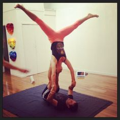 Acro yoga fun times upside down.