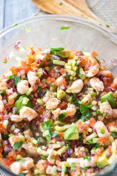 Avocado Shrimp Ceviche Tostadas. **Delicious! I left out the black beans and jalapeño seeds**