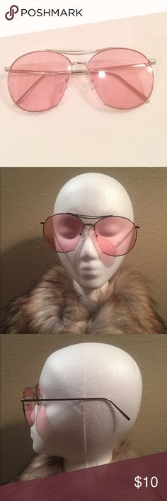 Oversized Round Sunglasses High fashion. Round . Semi rimless silver frames with a light pink lens . Super trendy . Accessories Sunglasses