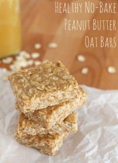 Healthy and easy peanut butter oat bars! Only 3 ingredients and full of natural fiber and protein! Perfect as a snack or healthy treat. Snacks oats Healthy No Bake Peanut Butter Oat Bars Recipe - Fabulessly Frugal Healthy School Snacks, Healthy Sweets, Healthy Baking, Healthy No Bake Cookies, Peanut Butter Oatmeal Bars, Healthy Peanut Butter, Healthy Oat Bars, Peanut Butter Squares, Breakfast Bars Healthy