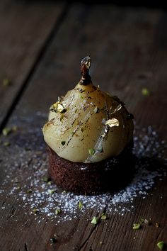 Chocolate Sablé Breton, 72% Chocolate Cremeux, Fleur de Sel, Poached Pear in Vanilla & Spices, and a fresh shaving of Tonka Bean. Instagram @engnatalie www.natalieengphotography.com