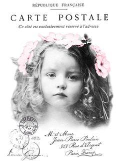Vintage girl postcard digital collage p1022 Free to use <3