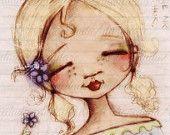 Print of my digitally enhanced sketch - Sketchbook Girl 9.26.14