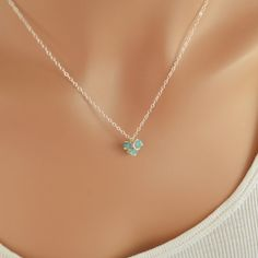 NEW Sterling Silver Necklace Apatite Gemstone Aqua by livjewellery