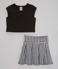 Another great find on #zulily! Black Crop Top & Houndstooth Pleated Skirt - Toddler & Girls #zulilyfinds