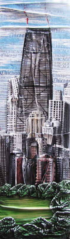 "CHICAGO SKYLINE  48""x14""x1""     2012  mixed media on fabric with newspaper"