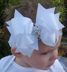 Spikey Boutique Hairbow..Big Ole White Spikey Layered Double Bow and Headband..Great for Newborn Toddler big Girl on Etsy, $6.99