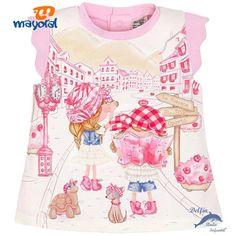 Camiseta de bebe para niña MAYORAL con serigrafia de niñas rosa