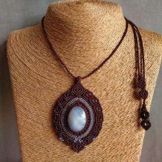 Macrame Necklace Pendant Moonstone Stone Waxed Cord Handmade Cabochon #Handmade #Wrap