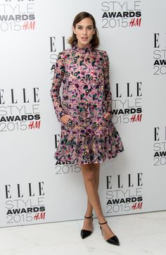 Alexa Chung in Erdem and Topshop shoes at the Elle UK Style Awards 2015. Photo: Gareth Cattermole/Getty Images
