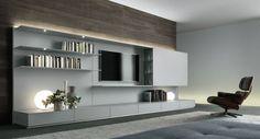 awesome Déco Salon - ensemble mural tv moderne - étagères et tiroirs en gis clair dans le salon...