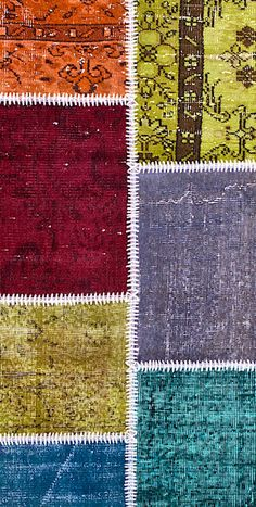 Vintage Patchwork Teppich - mozaiik Unikat Nr. 134TP Carpets, Rugs, Design, Home Decor, Scrappy Quilts, Vibrant Colors, Vintage Rugs, Handarbeit, Farmhouse Rugs
