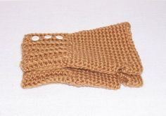 Tan Fingerless Gloves, Light Brown Hand Crochet Fingerless Gloves, Hand Warmers, Women's Girls Texting Gloves, Light Tan Gloves With Buttons by ICreateAndCollect on Etsy