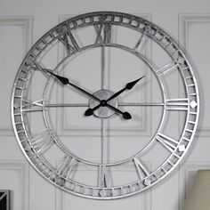 Extra Large Silver Skeleton Wall Clock Create a bold statement in your home with this fabulous wall clock. In the classic skeleton style, this clock will stand out with it's extra large size and beautiful silver finish. Large Silver Wall Clock, White Clocks, Large Clock, Skeleton Wall Clock, Mirror Wall Clock, Wall Clocks, Clock Decor, Kitchen Clocks, Thing 1