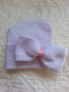 Hospital Newborn Beanie.  Pink White and Blue striped hat with your Newborn's First Bow!