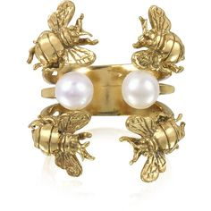 Bernard Delettrez Rings Bees and Pearls Bronze Ring ($345) ❤ liked on Polyvore featuring jewelry, rings, band jewelry, bronze ring, adjustable rings, bumble bee jewelry and cuff jewelry