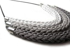 Catirpel - triple tier knit necklace - grey gradient