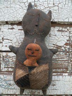 Primitive Black Cat Cupboard Doll and Pumpkin by stitchinsewprim, $45.00